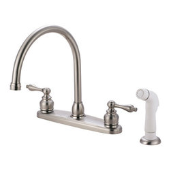 Kingston Brass - Double Handle Goose Neck Kitchen Faucet with White Sprayer - This double handle kitchen faucet personifies the elegance of the early traditional American design. The faucet features an 8in. centerset platform with a high goose neck spout that rotates 360 degrees for accessibility and convenience. The body of the faucet is constructed in solid brass for durability and long-lasting usage with the finish made from satin nickel for corrosion and tarnishing resistance. The handle levers feature a 1/4-turn on/off mechanism for controlling water volume and temperature. The faucet operates with a washerless disc valve for drip-free functionality and has a 2.2 GPM (8.3 LPM) and a 60 PSI maximum rate. An integrated removable aerator is fitted beneath the spout's head piece for conserving water flow. A 10-year limited warranty is provided to the original customer. White sprayer included.