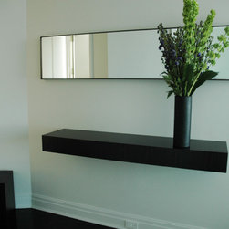 Floating Shelf for Entry Wall - Modern entry floating shelf with miter joint drawers.