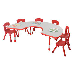 Best Rite - 14 1/2 24 1/2H x 72W x 48D Horseshoe Table   Fire Engine Red - Brite Kids?? Tables bring bright and functional furniture into any early childhood environment.