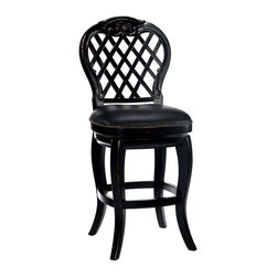 Hillsdale Furniture - Traditional Barstool w Hand Carved Wood Frame - A wood lattice back with carved rosettes and graceful curves gives this traditional bar stool a regal appeal that will be a bold addition to any decor. Ideal for entertaining, the stool has a black leather upholstered seat with nailhead detailing for added visual interest. 360 degree swivel. Intricate hand carving. Easy to care for supple leather seat. Black Honey Finish. 19 in. W x 20 in. D x 47.5 in. H. Seat Height: 30 in. HInspired by the rose covered lattices of days gone by, lovely Braxton stool boasts a simple sophistication that will add volumes of elegance to your bar, kitchen, game room. Braxton stool is an investment for your home that will never go out of style.