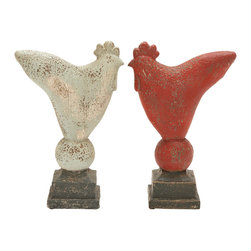 Woodland Imports - Antique Finish Beige Red Rustic Finish Rooster 2 Statue Accent Home Decor - Antique finish beige red long lasting rustic finish rooster 2 statue living, dining, and family room home decor