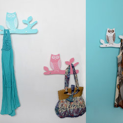 Owl Coat Hangers - Coat hanger features with owl stands on tree trunk, it adds interesting to wall decor. Easy install to wall. Blue, white and pink colors. These coat hanger can be displayed one piece only or several pieces together.