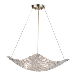 Fine Art Lamps - Constructivism Pendant, 841040ST - Like a white sail wafting in the air, this unusual pendant fixture inspires as it illuminates. It's made of individually cast pillow-shaped glass pieces, hand-laid in a cobblestone pattern, and has a shimmering silver-leaf finish.
