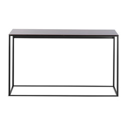 Blu Dot - Blu Dot Minimalista Console Table, Black / Black Mirror - Nothing but the bare essentials here. Sublime stainless steel gently supports your choice of top. Available in graphite-on-oak.