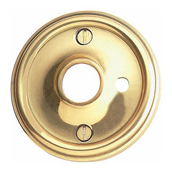 Renovators Supply - Door Knob Roses Brass Trad Door Knob Rose w/ Privacy Pin Hole | 66011 - Privacy Doorknob Roses: Bright Solid Brass- Traditional Roses have our exclusive maintenance free RSF finish. Comes as a pair- where one is designed with a hole to accept a privacy pin and the other rose has no privacy hole. Screws included. Sold in pairs. Measures 2 1/2 in. outer diameter and 5/8 in. inner diameter.