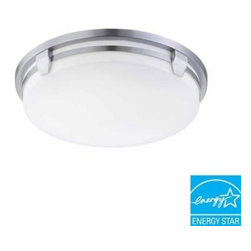 Hampton Bay - Hampton Bay Hamilton 2-Light Flush-Mount Brushed Nickel Fluorescent Light HBF120 - Shop for Lighting & Fans at The Home Depot. The Hampton Bay Hamilton 2-Light Flush Mount Round Fluorescent Fixture with its transitional design, will add decorative touch and desired mood to any room in your home. This environmentally friendly light provides warm and useful lighting to any room in your home. This high efficiency fixture has received Energy Star Certification for year-round energy and money savings.