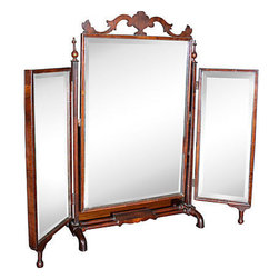 Consigned Upright Shaving Mirror - Beautiful three-mirror piece for table-top or vanity.  Very good condition, antique 19th century.