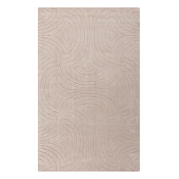 Surya Rugs - Surya SCU-7557 Sculpture Designer Hand Loomed 100% Wool Light Gray Rug  Round - 100% Wool. Style: Designer. Rugs Size: 5' x 8'. Note: Image may vary from actual size mentioned.