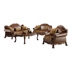 "Acme - 2-Piece Dresden Collection Two Tone Chenille Fabric and Leather-Like Sofa Set - 2-Piece Dresden collection two tone chenille fabric and leather like upholstered sofa and love seat with wood trim accents. This set includes the sofa and love seat with two tone chenille fabric and leather like upholstery with decorative carving accents and nail head trim. Sofa measures 87"" x 42"" x 43"" H. Love seat measures 61"" x 42"" x 43"" H. Optional chair also available separately and chair measures 42"" x 42"" x 43"" H. Some assemble may be required (attachment of feet)."