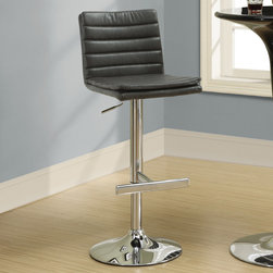 Monarch - Charcoal Grey/Chrome Metal Hydraulic Barstool - Set of 2 - Choose this contemporary two piece bar stool set for a stylish look perfect for get-togethers and sleek dining. The chrome finished metal pedestal base features a hydraulic lift to adjust the seat height and a footrest for added comfort. The rich grey leather-look seat with a padded straight line design makes this barstool comfortable and visually appealing.
