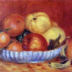 """Pierre Auguste Renoir Still Life with Apples and Oranges   Print - 16"""" x 24"""" Pierre Auguste Renoir Still Life with Apples and Oranges premium archival print reproduced to meet museum quality standards. Our museum quality archival prints are produced using high-precision print technology for a more accurate reproduction printed on high quality, heavyweight matte presentation paper with fade-resistant, archival inks. Our progressive business model allows us to offer works of art to you at the best wholesale pricing, significantly less than art gallery prices, affordable to all. This line of artwork is produced with extra white border space (if you choose to have it framed, for your framer to work with to frame properly or utilize a larger mat and/or frame).  We present a comprehensive collection of exceptional art reproductions byPierre Auguste Renoir."""