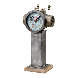 "Metal Telegraph Clock - The metal telegraph clock measures 5.5"" x 4"" x 11.5""H. There is a clock at the top of the telegraph. The body of the telegraph is attached to a wood base. It will add a definite nautical touch to wherever it is placed and is a must have for those who appreciate high quality nautical decor. It makes a great gift, impressive decoration and will be admired by all those who love the sea."