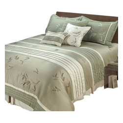 "Jenny George Designs - Sansai 7 Pc Pieced Comforter Set With Pleating And Embroidery - Cal King Size - Set Includes 1 Comforter, 2 King Shams, 1 Bedskirt, 3  Pillows. Comforter Dimensions: 108"" x 92"". King Sham Dimensions: 20"" x 36"". Bedskirt Dimensions: 72"" x 84"" x 15"".  Pillow Dimensions: 18"" x 18"", 12"" x 16"". 100% Polyester. Dry Clean."