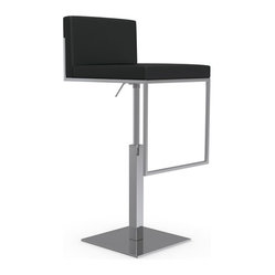 Calligaris - Even Plus Swiveling with Gas Lift Bar Stool, Chrome Frame, Black - You'll love the comfort of having a set of swivel bar stools in your home. Guests can adjust the height based on their needs and everyone can move around easily to follow the conversation. It's the ultimate entertainer's chair.