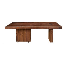 Marco Polo Imports - Parker Lucien Dining Table - This timelessly stylish urban dining table is crafted by hand from sustainably harvested and reclaimed woods. Juxtaposing warm patinas with rough and refined woods, this table lends a sense of history to any space, though never appears dated. The artistic use of tone ensures every one-of-a-kind piece is a focal point able to blend beautifully with others.