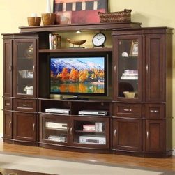 Cantata 4 Piece Entertainment Wall Unit with 50 in. TV Console - Espresso - Showcase your entertainment system and other treasures within the beauty of the Cantata 4 Piece Entertainment Wall Unit with 50 in. TV Console in Espresso. This stylish unit is crafted from quality wood and veneers with an espresso finish. It features a center console with glass front doors and open shelving for components. This console also features an interior cooling system to keep your components cool, and wire management holes to keep your cables neat and organized. Side piers provide even more storage behind lower cabinets and ample shelving space. Cabinetry doors offer storage while adjustable glass shelves provide display space behind glass doors. Interior illumination puts a spotlight on all your treasured items. A top bridge provides more display options and additional illumination.About Whalen FurnitureKnown for its signature-quality construction and rich style, Whalen Furniture manufactures a variety of home entertainment and home office products. Several Whalen family brands contribute to Whalen's mix of traditional designs and modern innovations. Function plays a key role in every piece, but it balances wisely with time-tested craftsmanship. Whalen's quality manufacturing process begins with solid wood materials and durable construction techniques, and it ends with multi-step finishes and practical features that support modern technology and today's integrated lifestyles.