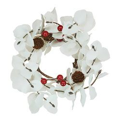 """Oddity - Oddity Party Decorative 2"""" White Eucalyptus Red Berry Pinecone Candle Ring - If you are looking for a totally unique piece of home decor look no further. Our White Eucalyptus collection is a brilliant, gleaming white, with energetic red berries and nice neutral pinecones to even things out and complete the look. These pieces are absolutely beautiful, and because they are white, you can use them almost anywhere."""