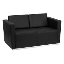 Flash Furniture - Flash Furniture Hercules Trinity Series Contemporary Black Leather Loveseat - This contemporary black leather reception love seat will bring a clean and professional look to your reception area. This love seat will adapt in a variety of environments with its clean line appearance, thick fixed cushion seats and overall comfort level. [Z-BTRINITY-8094-LS-BK-GG]