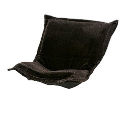 Howard Elliott - Sable Ebony Black Puff Chair Cushion - The wild side of life! Extra Puff Cushions in a Sable are a great way to change your look without the expense of buying a whole new chair! Puff Cushions fit scroll & rocker frames. This pattern has an enticingly cozy feel. Get wild with a Sable Puff Cushion.
