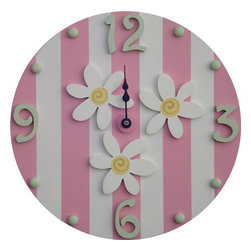 Wish Upon A Star - Sherbet Pink White Daisy Wall Clock - White Daisy Wall Clock