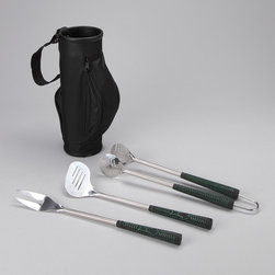 Design Imports - Grill Utensils & Golf Bag Set - This handy golf bag protects a trio of stainless steel barbecuing tools that are extra long. These handy utensils also feature durable construction and gripping rubber handles.   Includes tongs, spatula, prongs and carrying case Case: 14'' H x 5.25'' diameter Utensils: 18'' H Case: nylon Utensils: stainless steel / rubber Hand wash Imported