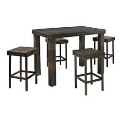 Crosley - Palm Harbor 5 Piece Outdoor Wicker High Dining Set - Table & Four Stools - Enjoy outdoor dining with our elegantly designed, all-weather wicker high dining set. This collection features clean-lines and is finely crafted with intricately woven wicker over durable steel frames, providing lasting resiliency to the weather.   With enough table space and stools for a party of four, this set is sure to provide the utmost comfort and style in any setting.   Includes dining table and four stools.