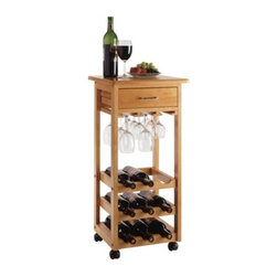 "Winsome - Basics Serving Cart - On wheels, this 9-bottle wine rack is a convenient unit perfect for standing next to the dining table or for making the rounds during a party. In an oak finish, it is a classic and attractive accessory. Features: -9-Bottle wine rack.-Wheeled for easy transport.-Storage drawer.-Oak finish.-Basics collection.-Collection: Basics.-Distressed: No.-Product Type: Kitchen cart.-Base Finish: Oak.-Counter Finish: Oak.-Powder Coated Finish: No.-Gloss Finish: No.-Base Material: Solid and composite wood.-Counter Material: Solid and composite wood.-Hardware Material: Stainless steel.-Solid Wood Construction: No.-Stain Resistant: No.-Warp Resistant: No.-Exterior Shelves: No.-Drawers Included: Yes -Number of Drawers: 1.-Push Through Drawer: No.-Dovetail Joints: No.-Drawer Dividers: No.-Silverware Tray : No..-Cabinets Included: No.-Towel Rack: Yes -Removable Towel Rack: No..-Pot Rack: No.-Spice Rack: No.-Cutting Board: No.-Drop Leaf: No.-Drain Groove: No.-Trash Bin Compartment: No.-Stools Included: No.-Casters: Yes -Locking Casters: Yes.-Removable Casters: Yes..-Wine Rack: Yes -Wine Rack Capacity: 9.-Removable Wine Rack: No..-Stemware Rack: Yes -Stemware Rack Capacity: 9..-Cart Handles: No.-Finished Back: Yes.-Weight Capacity: 25 lbs.-Swatch Available: No.-Commercial Use: No.-Recycled Content: 0 % .-Eco-Friendly: No.Specifications: -ISTA 3A Certified: No.Dimensions: -Overall Product Weight: 26 lbs.-Overall Height - Top to Bottom: 33"".-Overall Width - Side to Side: 15.25"".-Overall Depth - Front to Back: 15.2"".-Width Without Side Attachments: 15.25"".-Height Without Casters: 20.3"".-Countertop Width - Side to Side: 15.25"".-Countertop Depth - Front to Back: 20.3"".-Drawer: -Drawer Interior Height - Top to Bottom: 3.3"".-Drawer Interior Width - Side to Side: 10.63"".-Drawer Interior Depth - Front to Back: 10.47""..Assembly: -Assembly Required: Yes.-Tools Needed: Hardware included.-Additional Parts Required: No.Warranty: -Product Warranty: Replacement parts within 60 days from date of purchase."