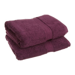 Luxurious Egyptian Cotton 900 Gram 2-Piece Plum Bath Towel Set - Luxurious Egyptian Cotton 900GSM 2pc Plum Bath Towel Set