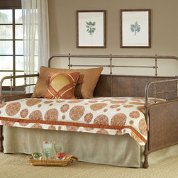 Hillsdale Furniture - Hillsdale Kensington Daybed & Suspension Deck & Trundle in Old Rust - The Kensington daybed has traditional design with a hint of turn of the century French style.  The classic silhouette is enhanced by the solid center panels which are graced by detailed castings.  Available in either Old Rust or Textured White finish  the Kensington is a wonderful addition to any bedroom.