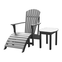 International Concepts - 3 Pc Adirondack Lawn Set - Read your favorite book, sip your morning coffee, watch your kids as they swim, or enjoy any other outdoor activity as you relax on this attractive Adirondack chair that comes with accommodating foot rest and matching side table.  You'll have an instant haven in the back yard with this set.  Adirondack styling provides the perfect design for relaxation.  A chair, ottoman and end table are all you need to retreat from the everyday fast track.  Black is a wonderful accent for blending, too. * Includes 1 Adirondack chair, 1 footrest & 1 side table. Reclined seat and wide armrests. Sloped design in ottoman. Made of solid wood. Assembly required. Chair: 28.25 in. W x 34 in. L x 37.5 in. H (21.8 lbs.), Seat height: 13.7 in. . Ottoman: 21.5 in. W x 21 in. L x 13.75 H (10 lbs.). Table: 18 in. W x 18 in. D x 17 in. H (10 lbs.)