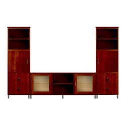 Howard Miller Custom - Owen Cabinet w 4 Doors in Newport Cherry - This cabinet is finished in Newport Cherry on select Hardwoods and Veneers, with Antique Bronze hardware. Console:. 2 doors with ribbed Glass. 3 adjustable interior shelves. Tower:. 2 flat panel doors and 4 flat panel drawers. 4 adjustable interior shelves. Flat profile top and metal leg base. Hardware: bar pulls on doors and ring pulls on drawers. Features soft-close doors, metal drawer glides, and metal shelf clips. Simple assembly required. Console: 70 1/4 in. W x 21 3/4 in. D x 29 in. H. Tower: 24 in. W x 15 3/4 in. D x 76 3/4 in. H