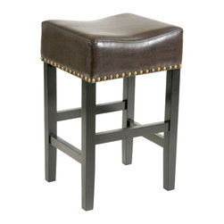Great Deal Furniture - Carmen Backless Leather Bar Stool (Set of 2), Brown - The Carmen leather backless bar stool is great for your kitchen, bar or dining space. Upholstered in beautiful bonded leather, and accentuated with studded accent and a gold metal kick-plate for added style, you'll enjoy the look and feel of this stool.
