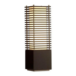 Nova - Kimura Accent Table Lamp - 6 foot cord. bulb included. Unique slotted design, squared accent table lamp. Dark brown wood, brushed nickel, warm fabric shade. Dual nightlight feature. Modern, contemporary, soft, elegant. Shade Material: Tan Linen. Shade Dimensions: 5.25 x 5.25 - 5.25 x 5.25 x 17.5V. Switch Type: In line dimmer switch. 1 Year Limited Manufacturer Warranty. 8 in. W x 26 in. H, 13.2 lbs