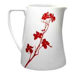MarlaDawn - Pitcher, Dogwood Blossom - Handy and functional pitcher that coordinates with our Dogwood Blossom patterned teapots and other accessories.  Holds 40 oz.