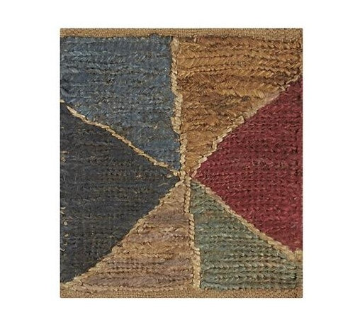 "Pitada 12"" sq. Rug Swatch - The shifting shapes of wind-blown flags piece together in Russell Pinch's casual and shape-shifting mosaic. The warm, saturated colors are based on natural pigments—indigo, terra cotta and earth. Each rug is woven of jute on a vertical loom with a fine soumak weave."