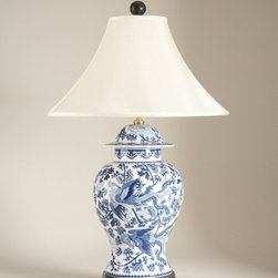 Blue and White Porcelain Temple Jar Table Lamp - Blue and white porcelain is a staple of chinoiserie design. Whether a vase, urn, ginger jar or, in this case, an urn-shaped table lamp, it's is a great way to start a vignette around which you can gradually build a room.