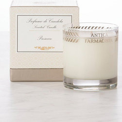 Frontgate - Antica Farmacista Prosecco Candle - Long-lasting burn time of 60 hours. Packaged in a pedestal presentation box. Prosecco features top notes of Satsuma citrus that balance with the subtle floral notes of muguet. Made in the USA. The 9 oz. Glass Candle is housed in a clear glass vessel with platinum leaf pattern. The platinum, round candle is packaged for easy gift-giving.  .  . . .