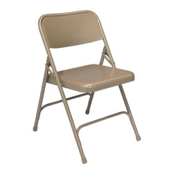 National Public Seating - Premium All-Steel Folding Chair with Square b - It's easy to have extra seating on hand with these folding steel chairs.  They lie flat and stack for easy storage.  Great to have on hand for office staff meetings.  Choose one of six color options.  If you've been looking for extra seating for your home, office, or classroom you will find that these chairs really offer all of the seating that you could ever need. * Set of 4. 18-gauge steel tubing. Electromagnetically welded seat back. Unique full size double contoured back and waterfall seat. Two U-shaped double riveted cross braces. V-shaped stability plugs. Double hinges on side for added stability and durability. Steel contains 30-40% of post-consumer waste (recycled). Meets ANSI and BIFMA standards. Warranty: Five years for material. Weight capacity: 480 lbs.. 18.25 in. W x 20.25 in. D in. x 29.5 in. H