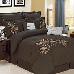 Bed In A Bag - 8pc Luxury Comforter Set- Park Avenue- Chocolate/ Beige/ Copper - Turn your bedroom into a place of luxury with this Park Avenue comforter set. This set boasts a unique floral pattern in rich colors of chocolate, beige and copper. Your bedroom has never looked so elegant. 100% Polyester, Machine Washable