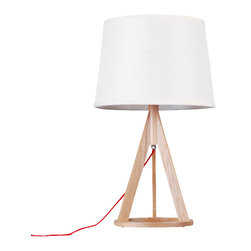 ParrotUncle - Russia Ash Wood Base Table Lamp - If you're searching for relaxed refinement, this table lamp fits the bill. Topped with a chic round fabric shade, it's supported by a wooden tripod with O-ring base. Contrasting natural and painting finishes draw the eye and light up your space with a contemporary allure.
