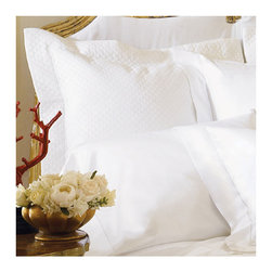 "Frontgate - Milos Pillow Sham - Generously sized to accommodate pillow-top mattresses up to 17"" deep. Features a classic hemstitch border. Made of the finest, longest-staple Egyptian Cotton Sateen. 100% Italian-spun into gossamer yarn. Machine wash cold using non-chlorine bleach as needed; wash dark colors separately. One touch tells you that the SFERRA Milos Bedding Collection promises a sublime sleeping experience. The finest of bed linens, Milos is woven to a magnificent 1,020 thread count using super-premium cotton sateen, resulting in an incredibly fine hand, silken shimmer, and luxurious drape.  .  .  .  .  . Tumble dry on low setting . For best results, iron on ""cotton' setting on reverse side of fabric to restore luster and sheen . Made in Italy by SFERRA. Part of the SFERRA Milos Bedding Collection."