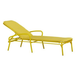 Kruger Sulfur Chaise Lounge Chair with Sunbrella® Sulfur Cushion - Safari casual tracks contemporary in bamboo-inspired lattice design handwoven of bright yellow resin wicker over powdercoated aluminum. Lightweight chaise is perfectly scaled for small sunrooms, patios or porches. Easy-care Sunbrella® acrylic matching cushion is fade-, water- and mildew-resistant.