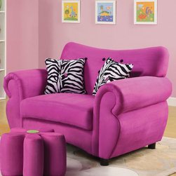 """Acme Furniture - Lucy Youth Chair in Pink with 2 Zebra Pattern Pillows - Lucy Youth Chair in Pink with 2 Zebra Pattern Pillows; Finish: Pink Microfiber, Pillow: Zebra Pattern; 2Pillows 12""""x12"""" (Zebra Pattern), Back with 9 Black Buttons, 4Pc Plastic Black Leg, PVC Kntting Cloth Pack; Materials: Eucalyptus Wood, Ply, Microfiber, FR Foam; Weight Capacity Limit: 150Lbs; Weight: 61 lbs; Dimensions: 46"""" x 31"""" x 32""""H"""