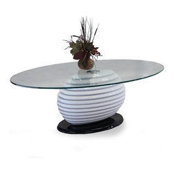 Modern black and white oval glass coffee table Alicante - Modern coffee table Alicante features sleek modern design. The coffee table has an oval tempered glass top and a two tone base, made of heavy ABS polymer.