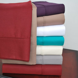 Impressions - Impressions Cotton Rich 800TC Solid Sheet Set - CR800CKSH SLBG - Shop for Pillowcases and Shams from Hayneedle.com! The Impressions Cotton Rich 800 TC Solid Sheet Set instantly gives your bed sumptuous status. Beautiful and luxurious this sheet set is crafted from a rich blend of cotton and polyester that is silky soft machine washable and wrinkle-resistant. Its high 800-thread count is smooth to the touch and the set comes in a variety of solid color options. Fitted sheets feature full elastic for a smooth fit and have generous 15-inch deep pockets to fit up to an 18-inch mattress. Available in a variety of size options. Each set includes a flat sheet fitted sheet and two pillowcases (one with Twin XL size). Dimensions:Twin XL:Flat sheet: 100L x 66W in.Fitted sheet: 80L x 39W in.Pillowcase: 20L x 30W in.Full:Flat sheet: 96L x 86W in.Fitted sheet: 75L x 54W in.Pillowcase: 20L x 30W in. eachQueen:Flat sheet: 102L x 90W in.Fitted Sheet: 80L x 60W in.Pillowcase: 20L x 30W in. each King:Flat sheet: 108L x 102W in.Fitted sheet: 80L x 78W in.Pillowcase: 20L x 40W in. eachCalifornia King:Flat sheet: 108L x 102W in.Fitted sheet: 84L x 72W in.Pillowcase: 20L x 40W in. eachSplit King:Flat sheet: 108L x 102W in.Fitted sheet: 80L x 30W in. eachPillowcase: 20L x 40W in. eachAbout Home City Inc.Established in the 1980s in Queens New York selling towels and lower-thread-count sheets Home City Inc. started in small office and has developed into a worldwide manufacturing and importing company based out of Brooklyn NY. They were able to establish the name Home City Inc. in 2003 which set the tone for the growth in a company that boasts over 25 years of experience in production. Over the years Home City has developed and perfected unparalleled quality products that now serve domestic and international retail stores. Today Home City's fulfillment center is located in Linden NJ with a showroom on Fifth Avenue in New York NY allowing them to provide their customers with an 