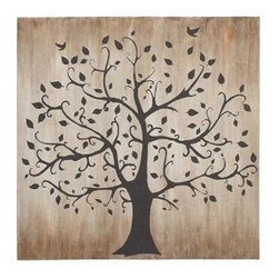 Benzara - Tree Themed Classy Canvas Wall Art - Tree themed classy canvas wall art. This classy tree themed artwork is beautiful and captivating. Painted in dark hues, gives this art an old charm. Two birds are shown to be flying towards the treetop. Bring nature home with this unique canvas art. Some assembly may be required.