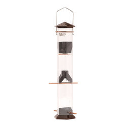 Nature's Way - Thistle Twist and Clean 17 inch Bronze - Deluxe 17 inch Thistle/Nyjer Seed Feeder features patented twist and cean technology that allows you to twist and remove all parts in seconds with no need for tools all Parts are dishwasher safe!