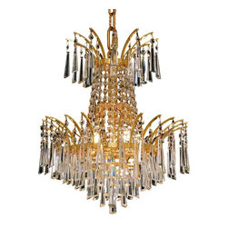 Elegant - Victoria Gold Royal Cut Dining Room Chandelier - The Victoria Collection provides a display of brilliant color.  This vibrant series features multi-layers of crystals throughout its body, adding decorative design to a room.