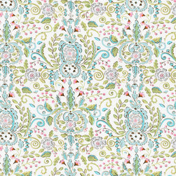 Love Bird Damask Fabric - Shades of soft pinks and blue. Perfect for apparel or home decorating projects. 100% cotton