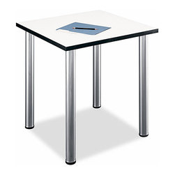 "Bush Business - Aspen Square Work Table - The sleek tubular metal legs of this Aspen square table are not only stationary but also provide levelers for uneven floors, keeping your writing efforts from being jaunted about by sudden and unexpected shifts, bumps, and slides.  This versatile White Spectrum Square Student Table/Desk has a 28"" square White Spectrum melamine table surface that resists scratches, stains and glare.  The 4 stationary metal legs have levelers for uneven floors while the coated underside prevents clothing snags.  This square white Melamine desk is versatile and adaptable to almost any purpose, and will hold a computer, serve as study desk, or any other function you care to put it to.  A trendy square table for the home or office, this table is scratch resistant and stain resistant and has a PVC edging for added stability. * White Spectrum melamine Table surface resists scratches, stains and glare. PVC edge banding stands up to bumping and rearranging. Stationary metal legs have levelers for uneven floors. Coated underside prevents clothing snags. Meets ANSI/BIFMA standards for safety and performance. Max weight limit: 125 lbs. 28.346 in. W x 28.346 in. D x 28.937 in. H"